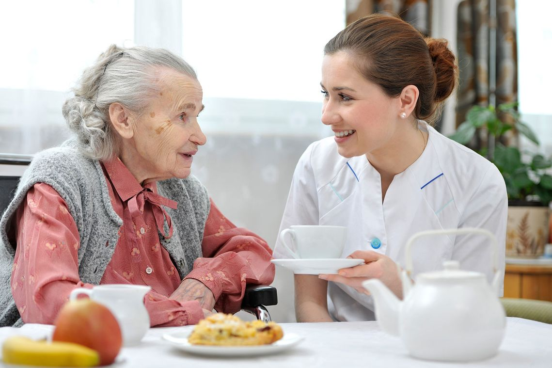 An elderly woman with a home career